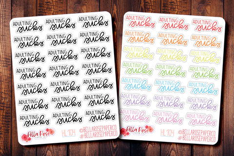 Adulting Sucks Hand Lettering Planner Stickers HL104