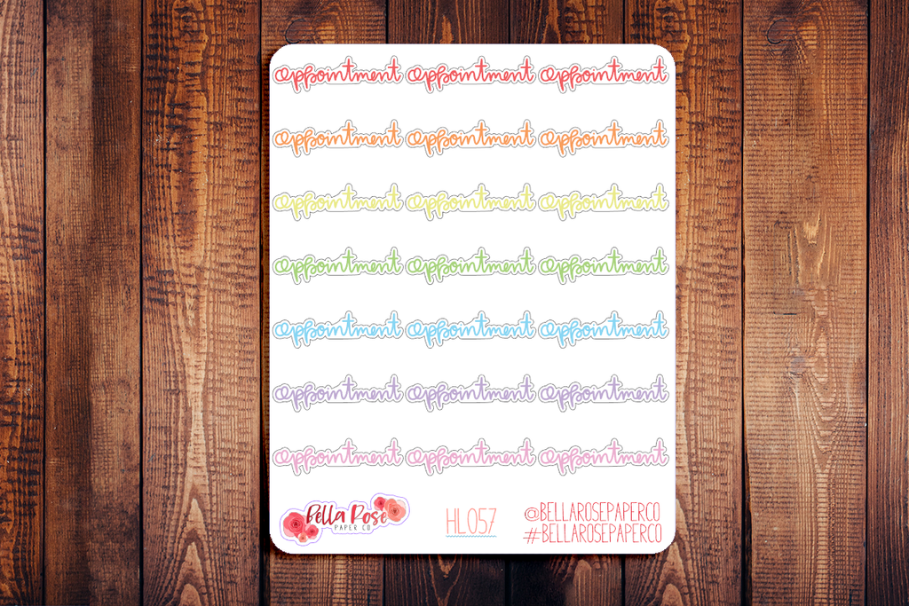 Appointment Lettering Planner Stickers HL057