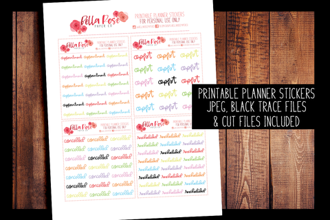 Appointment/ Cancelled Hand Lettered Planner Stickers | PRINTABLE PLANNER STICKERS