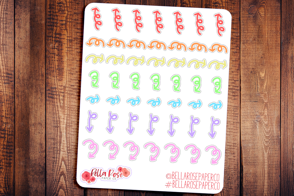 Mini Arrow Doodle Hand Drawn Planner Stickers