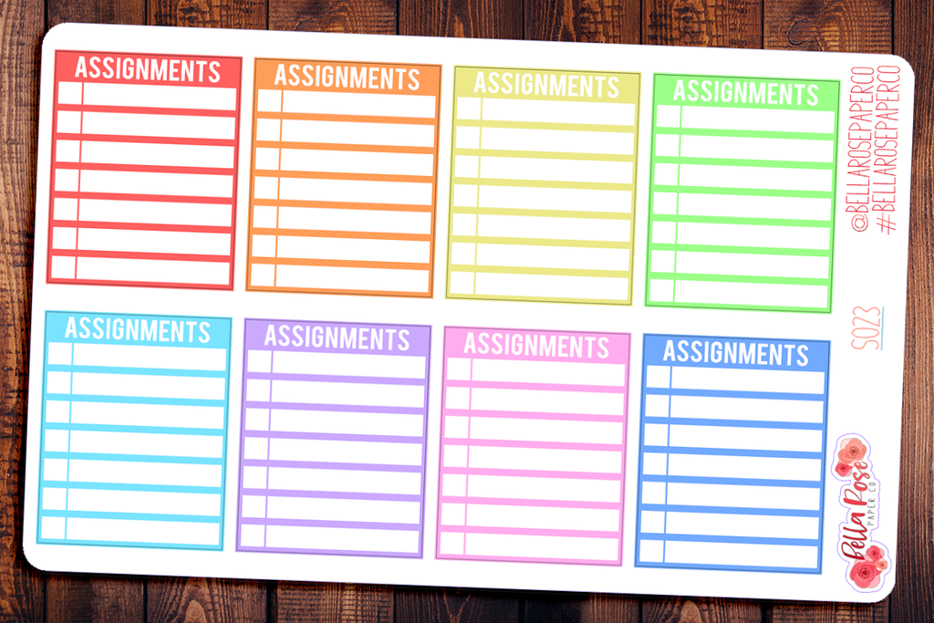 Assignment Checkbox Student Planner Stickers S023