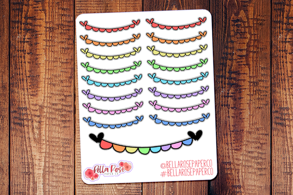 Rainbow Banners Doodle Hand Drawn Planner Stickers