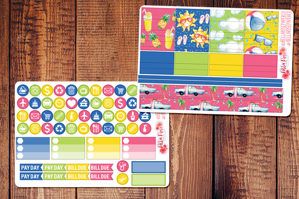 Beach Days Planner Sticker Kit