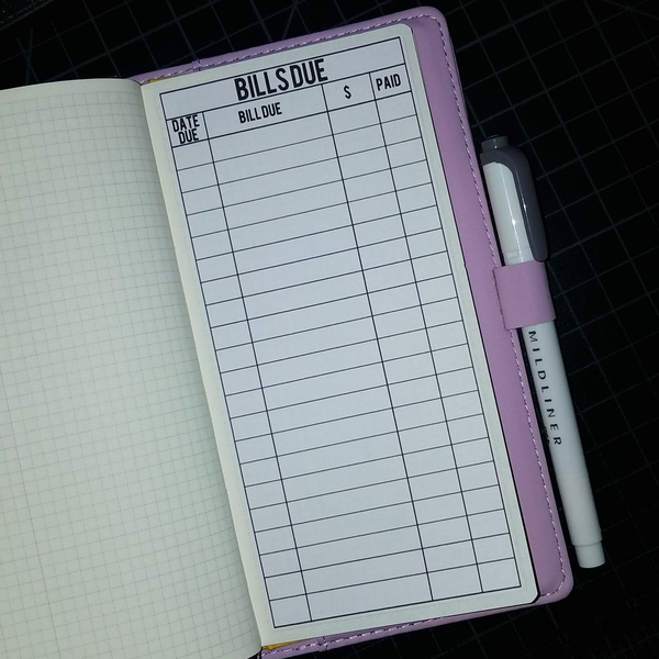Hobonichi Weeks Bills Due Full Page Sticker HWI001