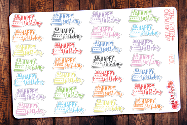 Happy Birthday Lettered Planner Stickers DI060