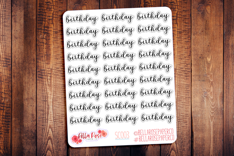 Birthday Script Planner Stickers SC003