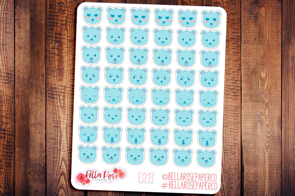 Blue Bear Emoti Character Planner Stickers E013