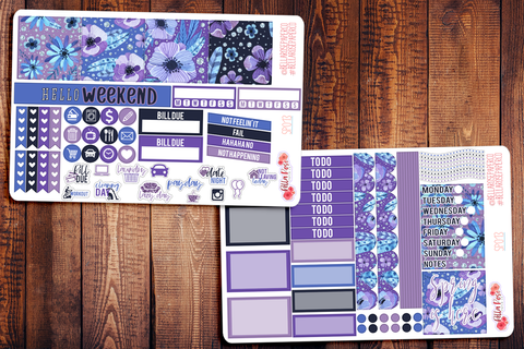 Spring Is Here Purple Floral Mini Happy Planner Sticker Kit SP013