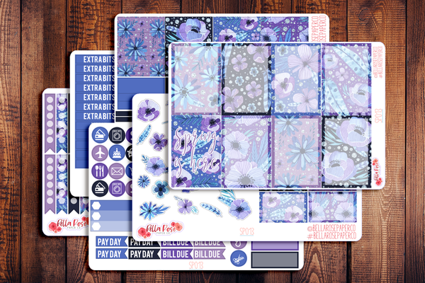 Spring Is Here Purple Floral Planner Sticker Kit SP013
