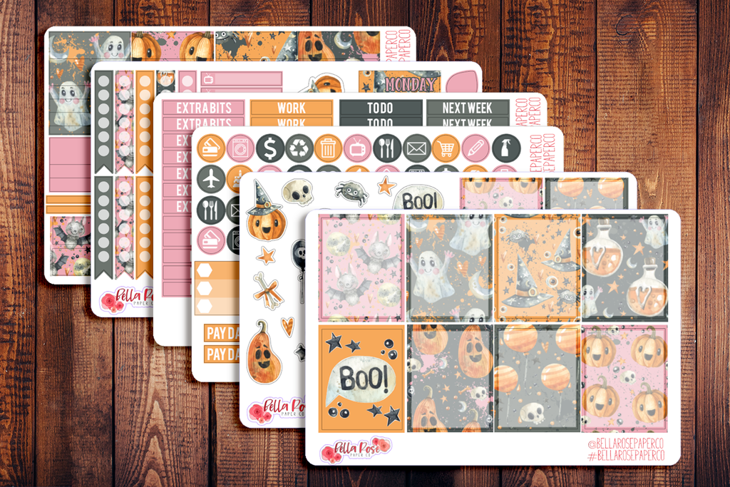 Boo Pastel Halloween Planner Sticker Kit F015