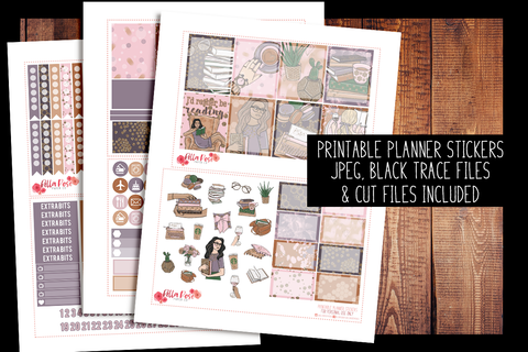 Book Babe Planner Kit | PRINTABLE PLANNER STICKERS