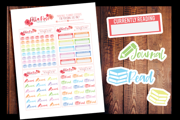 Book/Journaling Planner Stickers | PRINTABLE PLANNER STICKERS