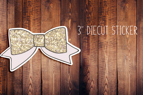 Gold Bow Diecut Sticker