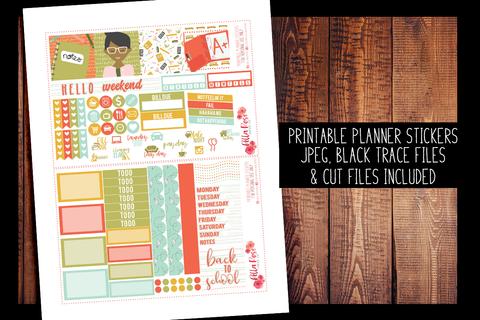 Back To School Mini Happy Planner Kit | PRINTABLE PLANNER STICKERS