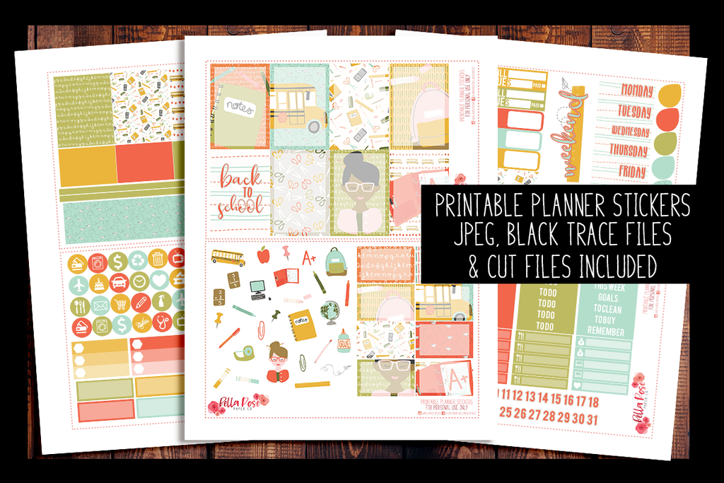 graphic about Happy Planner Printable identify Back again In the direction of College Satisfied Planner Package PRINTABLE PLANNER STICKERS