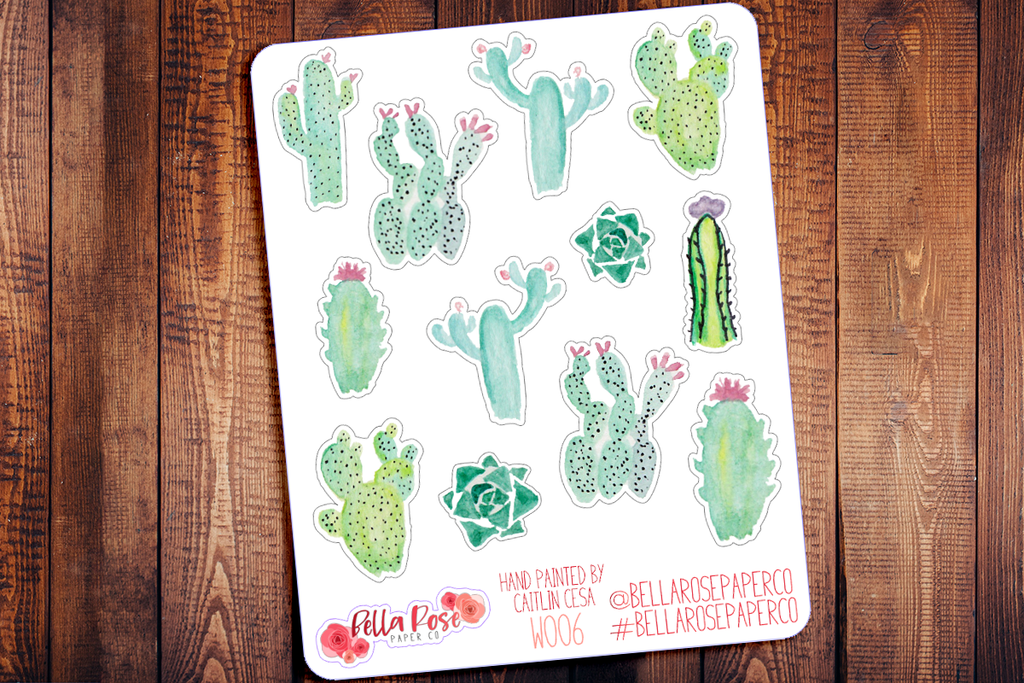 Succulent Hand Painted Watercolor Planner Stickers W006