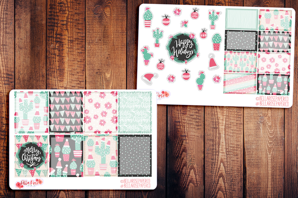 Christmas Cactus Planner Sticker Kit W002
