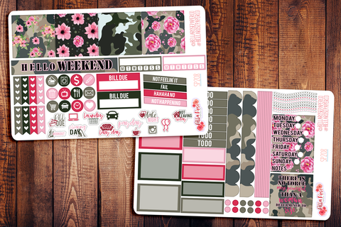 Camo Girlboss Mini Happy Planner Sticker Kit SP208