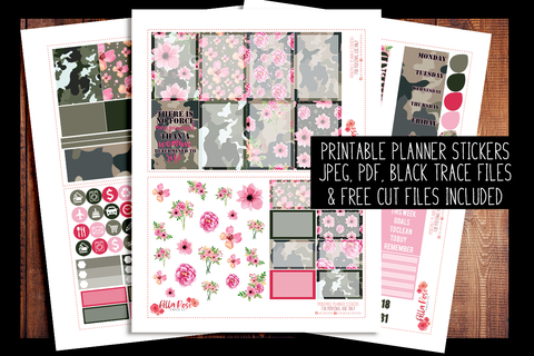 Camo Girlboss Happy Planner Kit | PRINTABLE PLANNER STICKERS