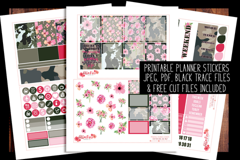 Camo Girlboss Planner Kit | PRINTABLE PLANNER STICKERS