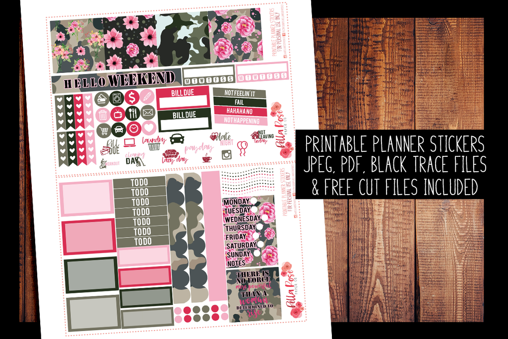 Camo Girlboss Mini Happy Planner Kit | PRINTABLE PLANNER STICKERS
