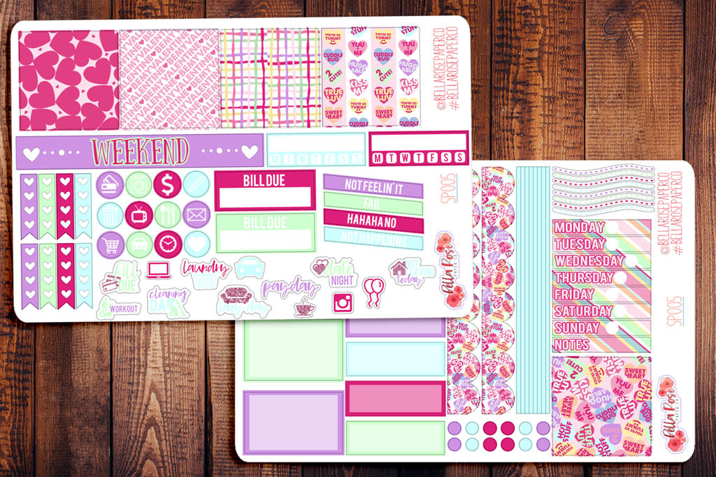 Candy Hearts Valentine's Day Mini Happy Planner Sticker Kit SP005