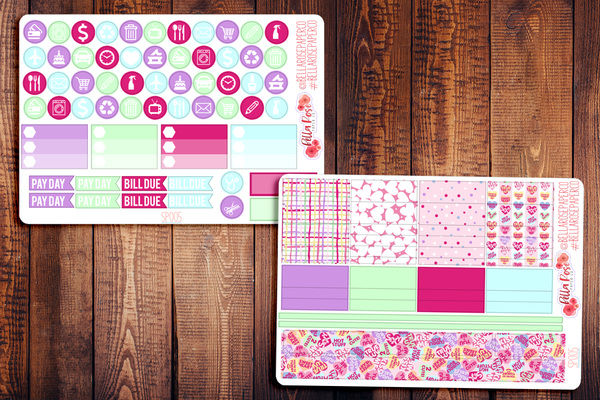 Candy Hearts Valentine's Day Planner Sticker Kit SP005
