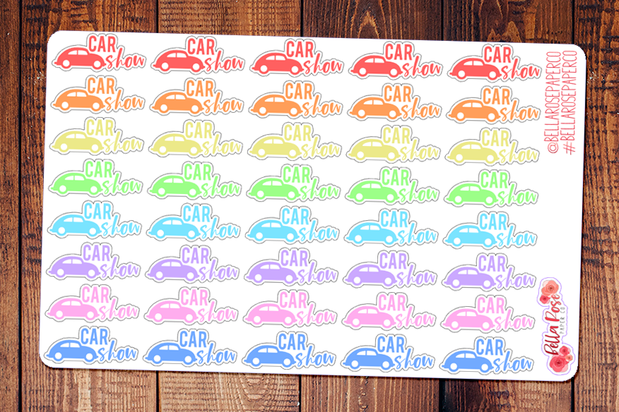 Car Show Lettering Planner Stickers