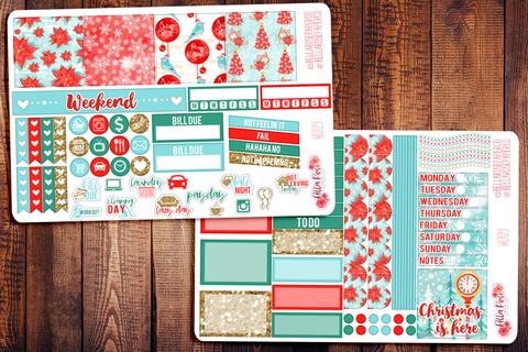 Christmas Cardinal Mini Happy Planner Sticker Kit W004