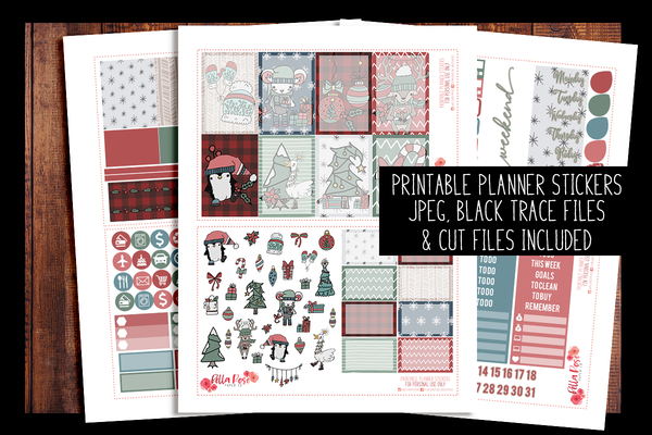Cartoon Christmas Happy Planner Kit | PRINTABLE PLANNER STICKERS