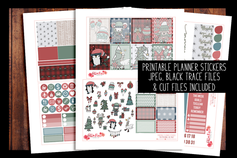 Cartoon Christmas Planner Kit | PRINTABLE PLANNER STICKERS
