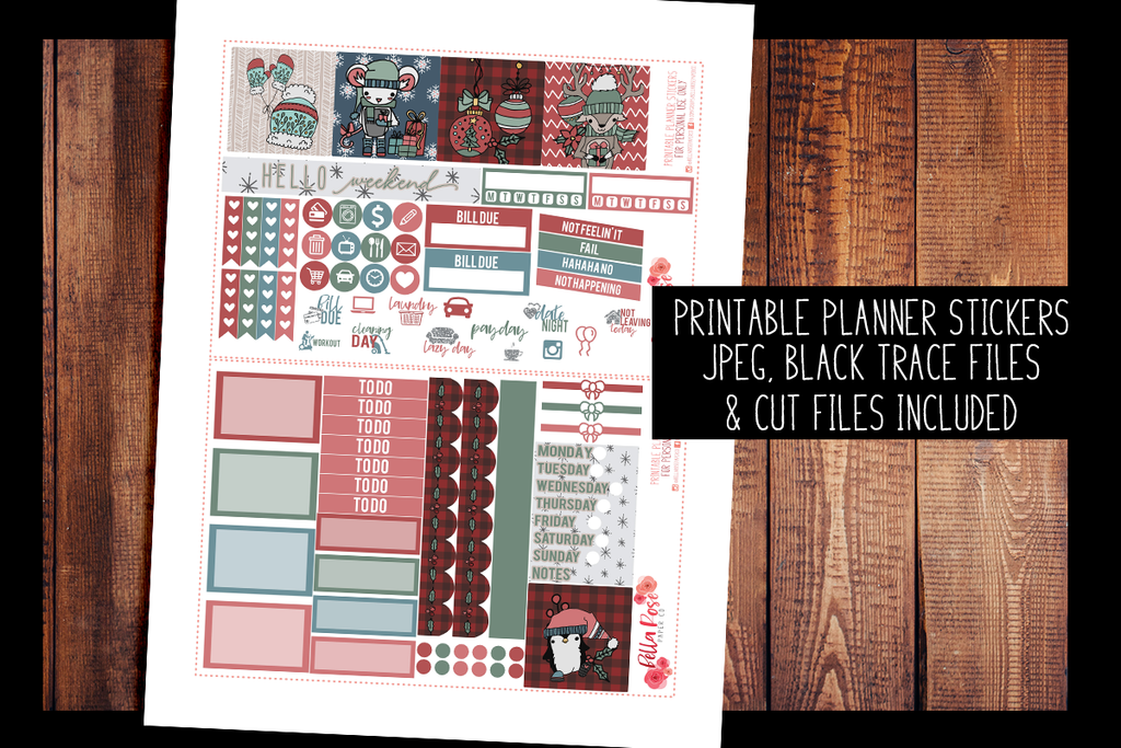 Cartoon Christmas Mini Happy Planner Kit | PRINTABLE PLANNER STICKERS