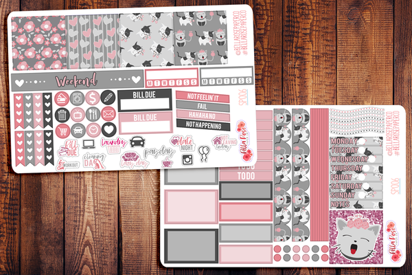 Cute Kittens Valentine's Day Mini Happy Planner Sticker Kit SP006