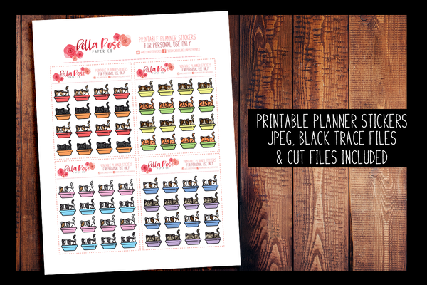 Cat Litter Planner Stickers | PRINTABLE PLANNER STICKERS