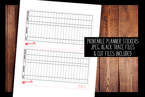 Checkbook Register Full Page Hobonichi Weeks Sticker | PRINTABLE PLANNER STICKERS