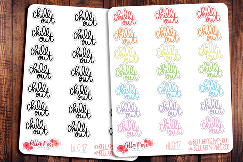 Chill Out Hand Lettering Planner Stickers HL017