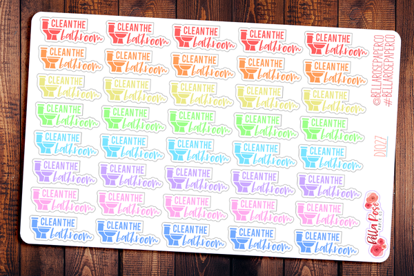 Clean Bathroom Lettering Planner Stickers DI027