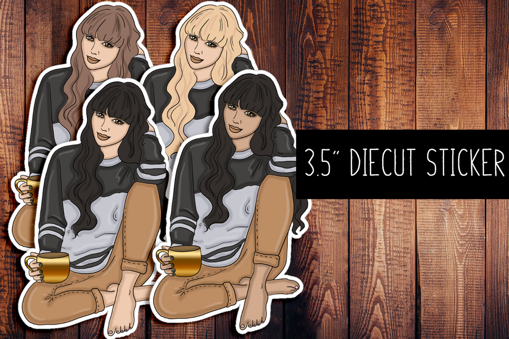 Coffee Girl Diecut Sticker