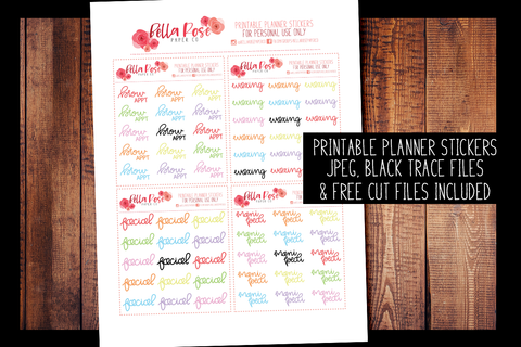 Cosmetic Appointments Hand Lettered Planner Stickers | PRINTABLE PLANNER STICKERS