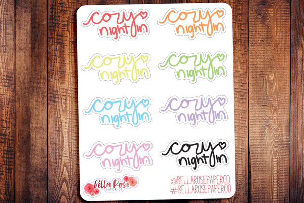 Cozy Night In Doodle Hand Drawn Planner Stickers