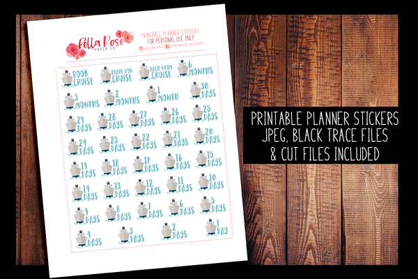 Cruise Countdown Planner Stickers | PRINTABLE PLANNER STICKERS