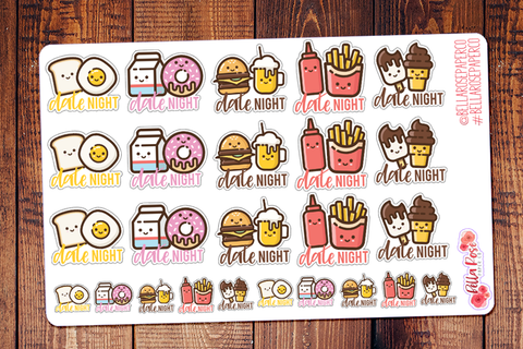 Date Night Cute Foods Planner Stickers DI012