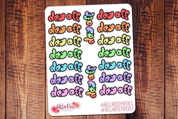 Day Off Doodle Hand Drawn Planner Stickers