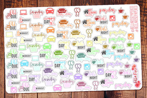 graphic relating to Free Printable Functional Planner Stickers named Simple Planner Stickers Bella Rose Paper Co