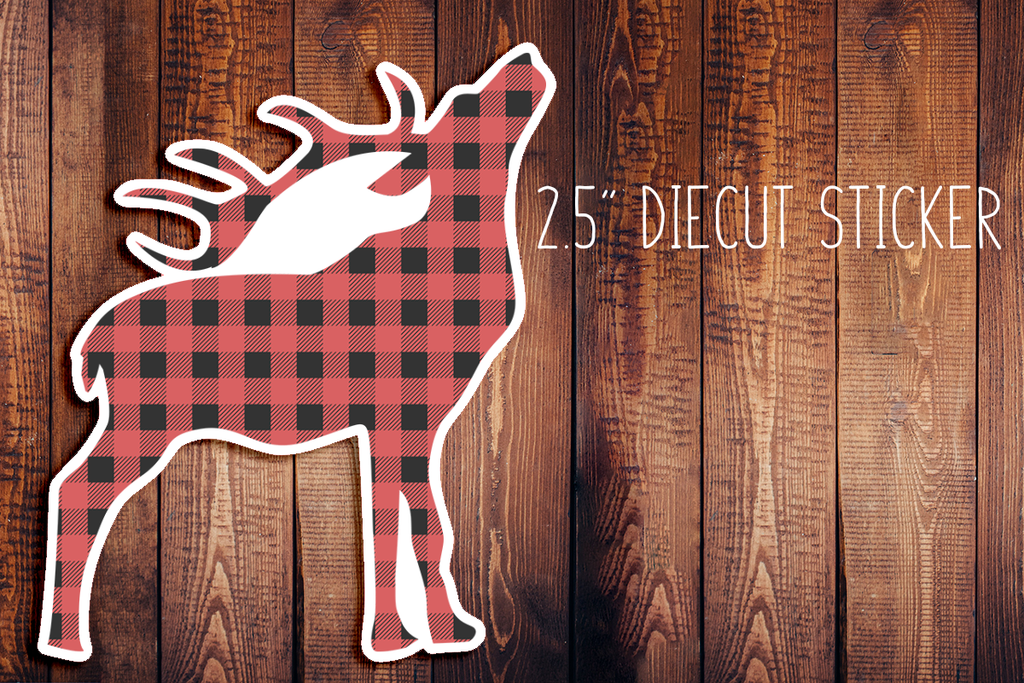 Buffalo Plaid Deer Christmas Diecut Sticker