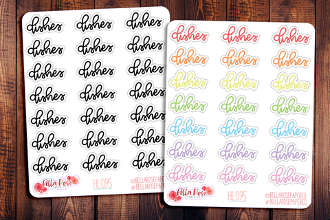 Dishes Hand Lettering Planner Stickers HL095