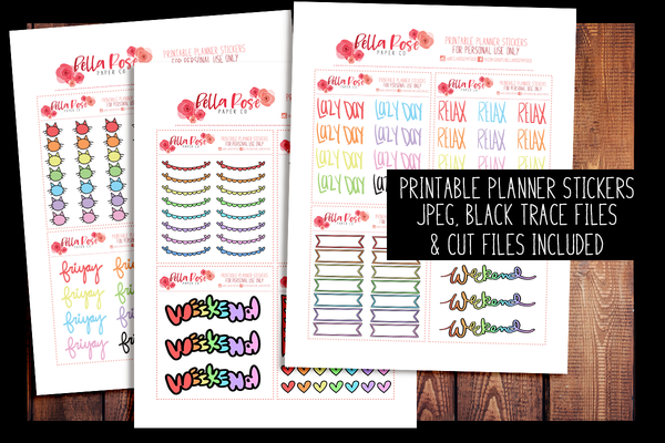 Doodle Hand Drawn Planner Stickers | PRINTABLE PLANNER STICKERS