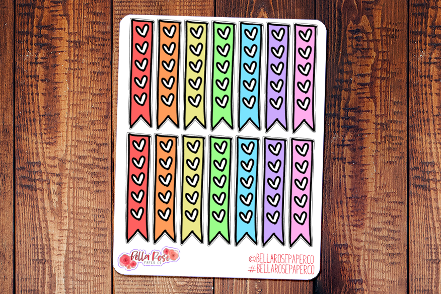 Heart Checklist Doodle Hand Drawn Planner Stickers