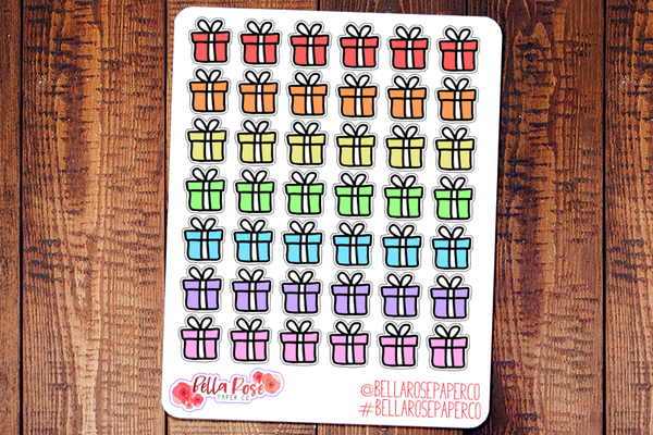 Birthday Gift Icon Doodle Hand Drawn Planner Stickers