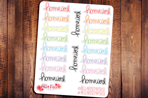 Homework/Student Doodle Hand Drawn Planner Stickers